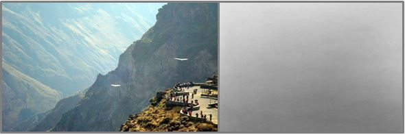 The Colca Canyon: what we should have seen (Image credit: www.visitperu.com) and what we did see.