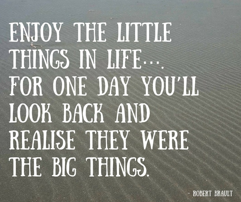 Enjoy the little things in life…. For one day you'll look back and realise they were the big things.